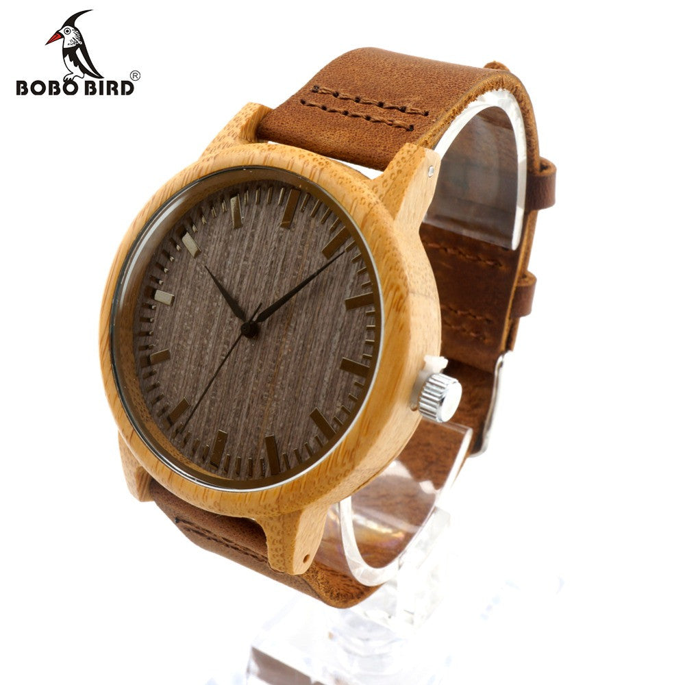 s cowhide watches band watch leather bamboo with bird for products genuine wooden wood bobo isla wristwatches luxury fulgente men