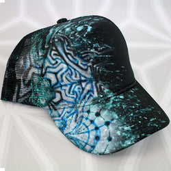 Original Visionary Art Painted Trucker Hat -Hand Painted- -StreetArt- -StencilArt-