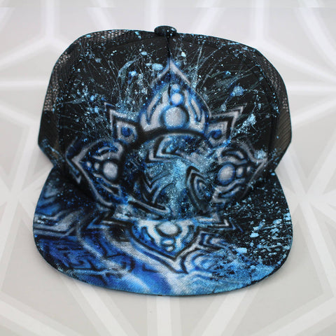 Eclipse Visionary Art FlatBill Hat  -Painted Hat- -StreetArt- -StencilArt- -Graffiti-