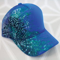 Geometric Stencil Painted Hat -Painted Hat- -StreetArt- -StencilArt- -Flower of Life-