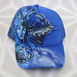 Goddess cloud Visionary Art Hat  -Painted Hat- -StreetArt- -StencilArt- -Graffiti-