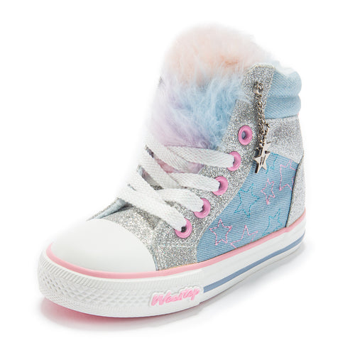 Faux Rainbow Fur Sneaker_Blue