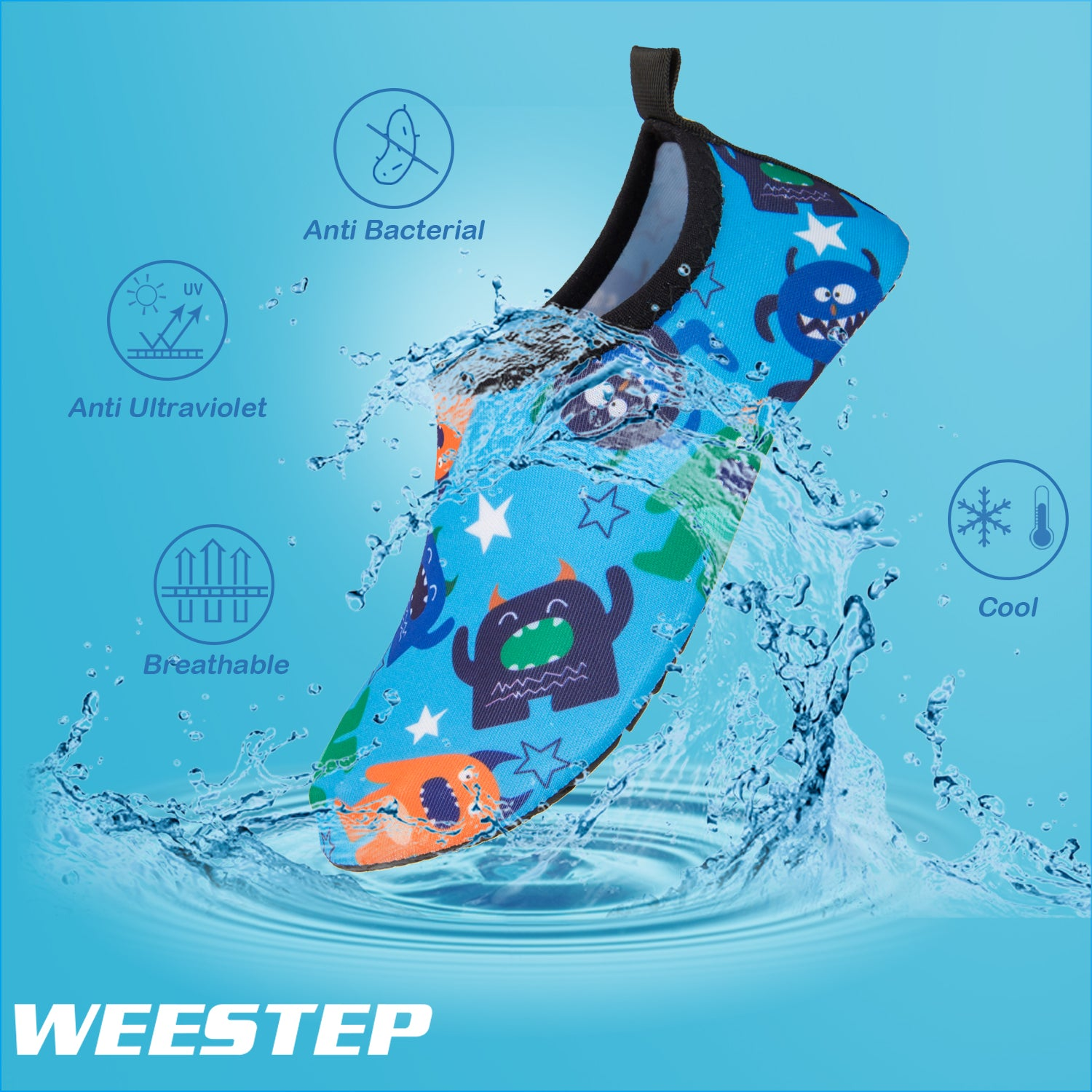 Weestep Toddler//Little Kid Boys Girls Aqua Sock Shoe