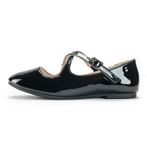 Cross Strap Ballet Flats_White/Black
