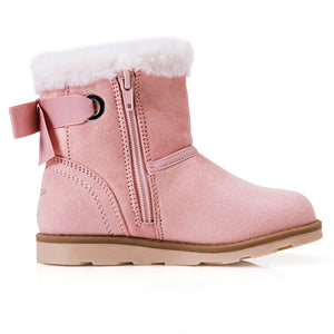 Girl's Fluffy Boots_Pink/Black/Grey/Brown