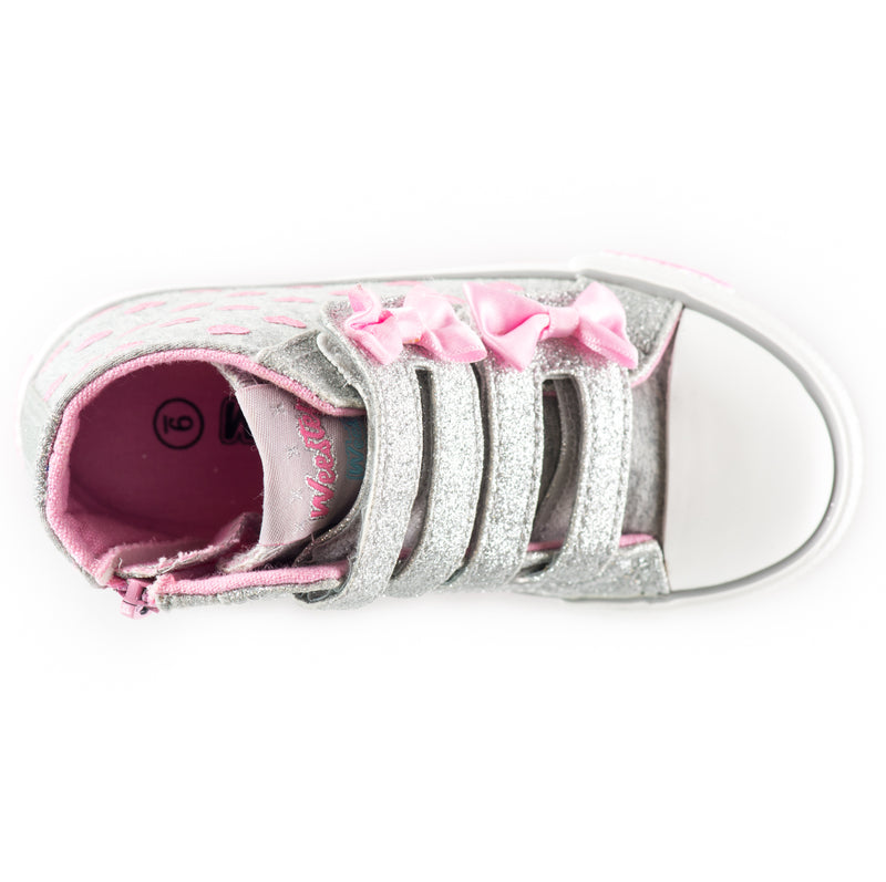 Glitter Straps Double-Bow High Top Sneaker