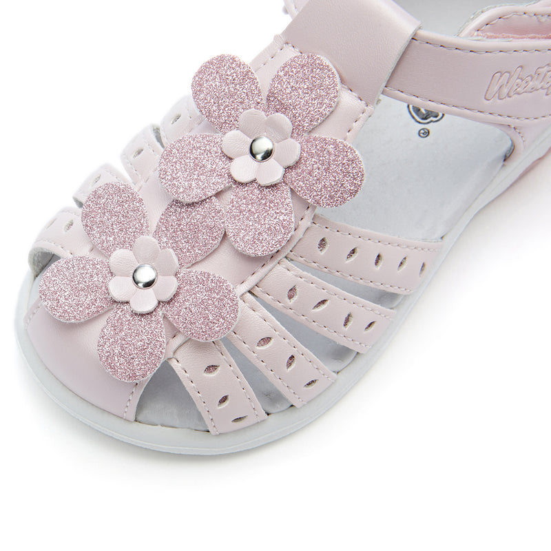 Toddler Flower Closed Toe Leather Sandals