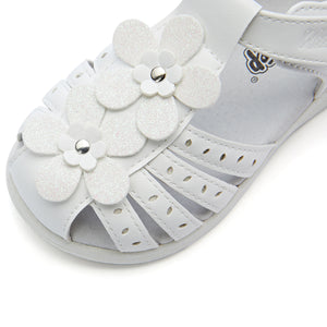 Flower Closed Toe Leather Sandals_White/Pink