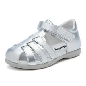Simple Closed Toe Leather_Sandals_Siiver/White/Pink