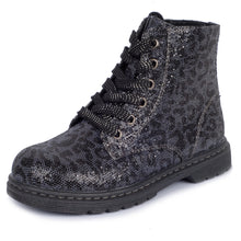 girls boot, girls shoes, kids shoes, toddler shoes, lace up boots, size zipper, high top, everyday wear, comfortable, fashion, leopard, black, gift, classic, cute