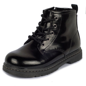 girls boots, boys boots, girls shoes, boys shoes,kids shoes, toddler shoes, lace up boots, size zipper, high top, everyday wear, comfortable, fashion, black, gift, classic