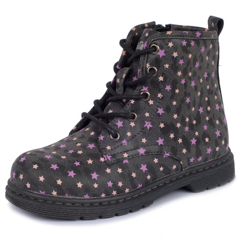 girls boot, girls shoes, kids shoes, toddler shoes, lace up boots, size zipper, high top, everyday wear, comfortable, fashion, stars, gift, classic,cute