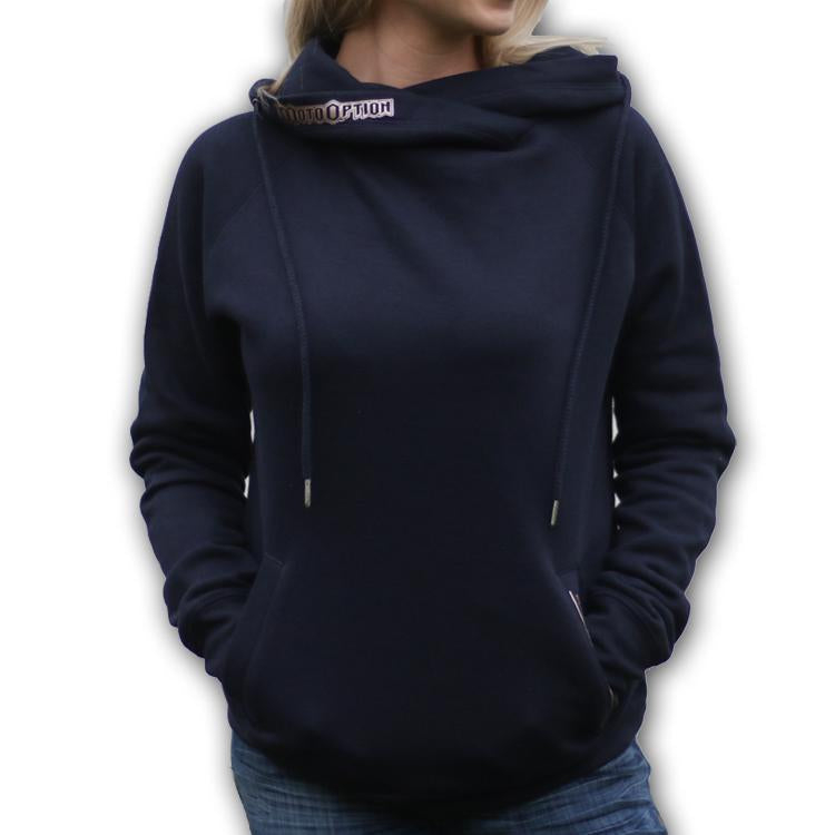 Womens Funnel Neck Pullover - Navy