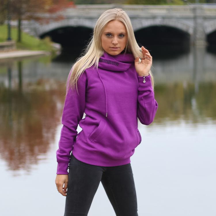 Womens Funnel Neck Pullover - Electric Purple