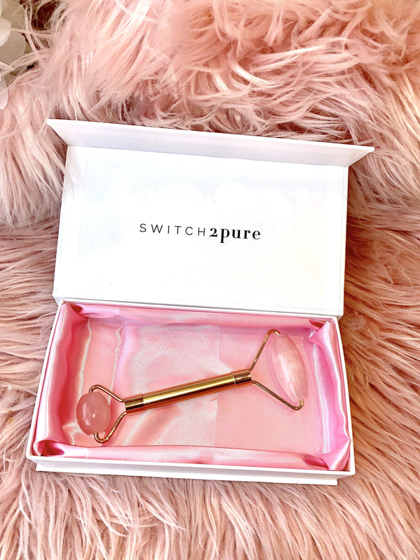 Switch2Pure Rose Quartz Dual Sided Facial Roller