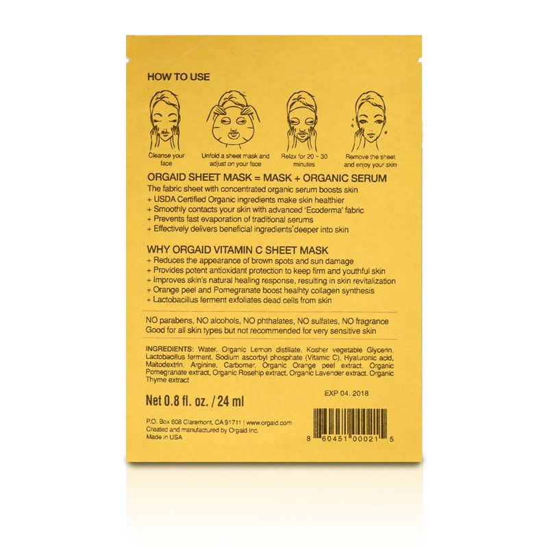 Orgaid Vitamin C & Revitalizing Single Sheet Masks
