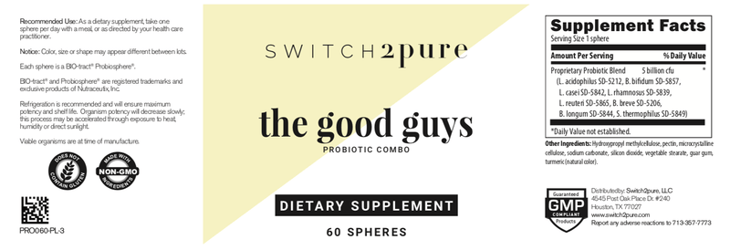Switch2Pure the good guys - 60 count probiotic complex