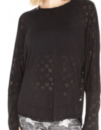 Terez Black Hearts Burnout Long Sleeve