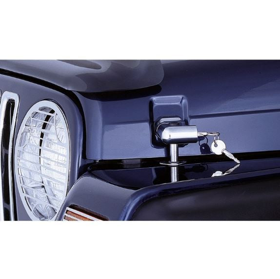 Rugged Ridge 11302.03 Locking Hood Catch Kit, Chrome; 97-06 Jeep Wrangler TJ
