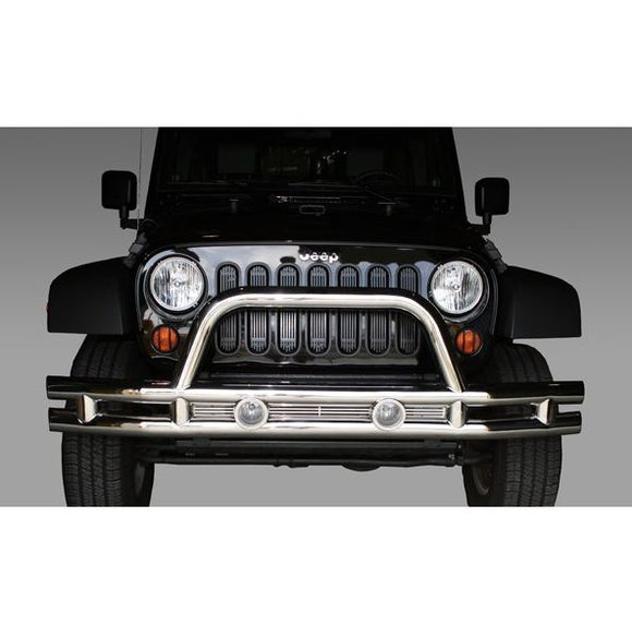 Rugged Ridge 11563.10 Tube Front Bumper, 3 Inch, Stainless Steel; 07-18 Jeep Wrangler JK