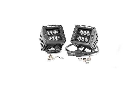 Rough Country 70903BL 2IN Square Cree LED Lights - (Pair | Black Series)
