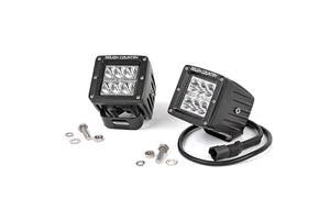 Rough Country 70903 2IN Square Cree LED Lights - (Pair | Chrome Series)