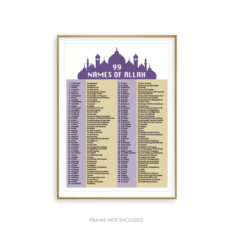 99 Names of Allah Print - English