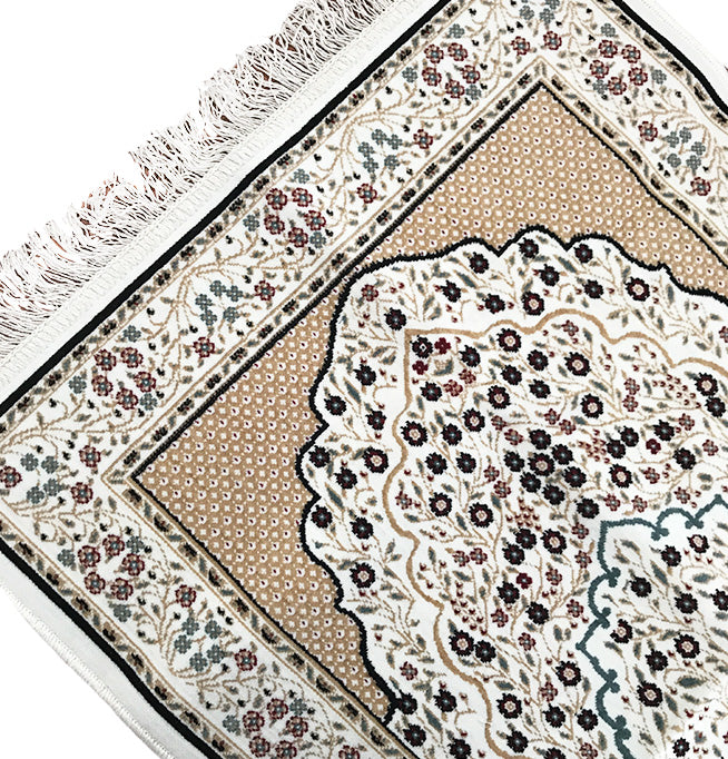 High Quality Prayer Mat - Beige - Made in Madina