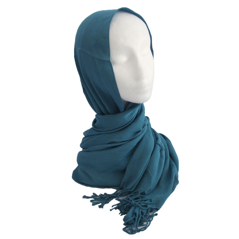 Fringe Cotton Hijab Blue