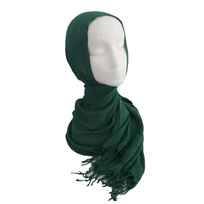 Fringe Cotton Hijab Green