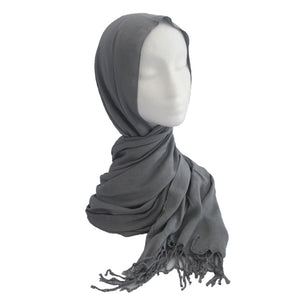 Fringe Cotton Hijab Grey