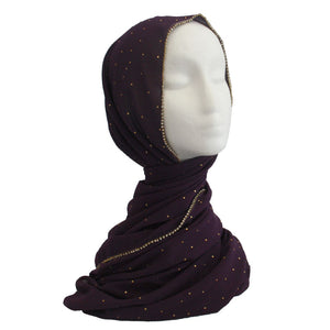Rhinestone Formal Hijab Purple