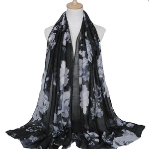 Large Flowers Dark Grey Viscose Hijab