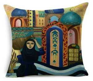 Islamic Decorative Cushion - Muslimah Carrying Water