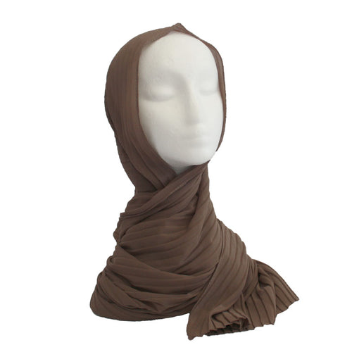 Pleated Hijab Mocha