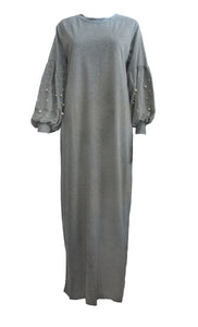 Lantern Sleeve Casual Abaya Dress