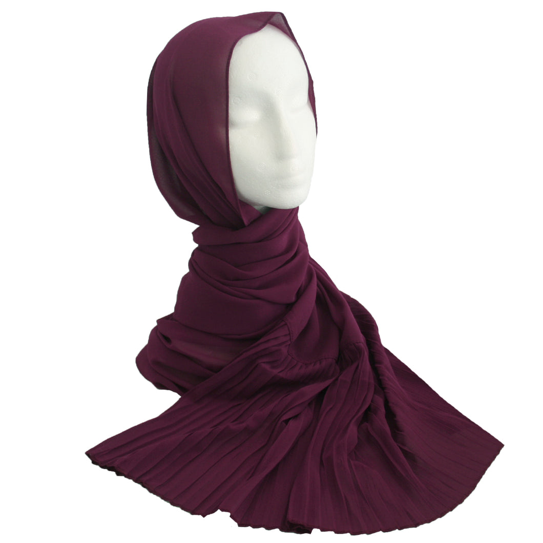 Pleat Detail Hijab Mulberry