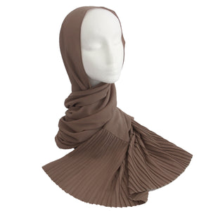 Pleat Detail Hijab Tan