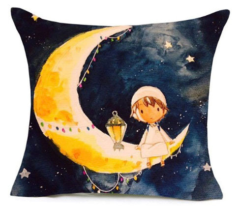 Islamic Decorative Cushion - Kid on a Ramadan Moon