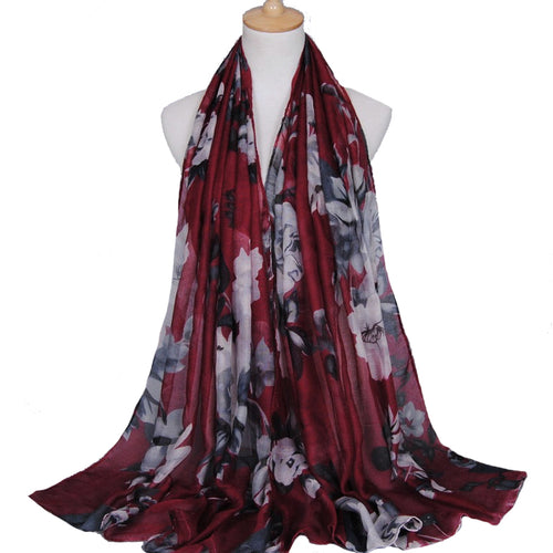 Large Flowers Maroon Viscose Hijab