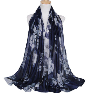 Large Flowers Navy Viscose Hijab