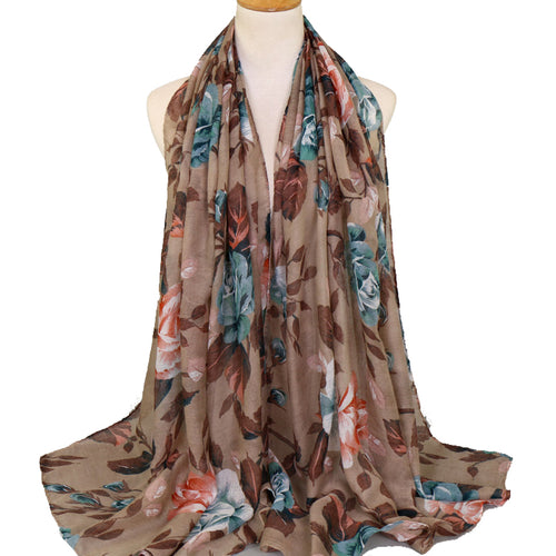 Leaves Beige Viscose Hijab