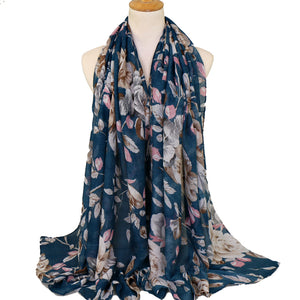 Leaves Teal Viscose Hijab