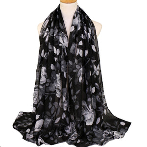 Leaves Black Viscose Hijab