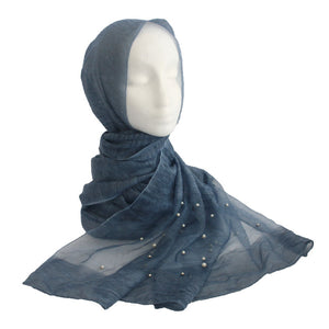 Silk & Pearl Panel Hijab Blue