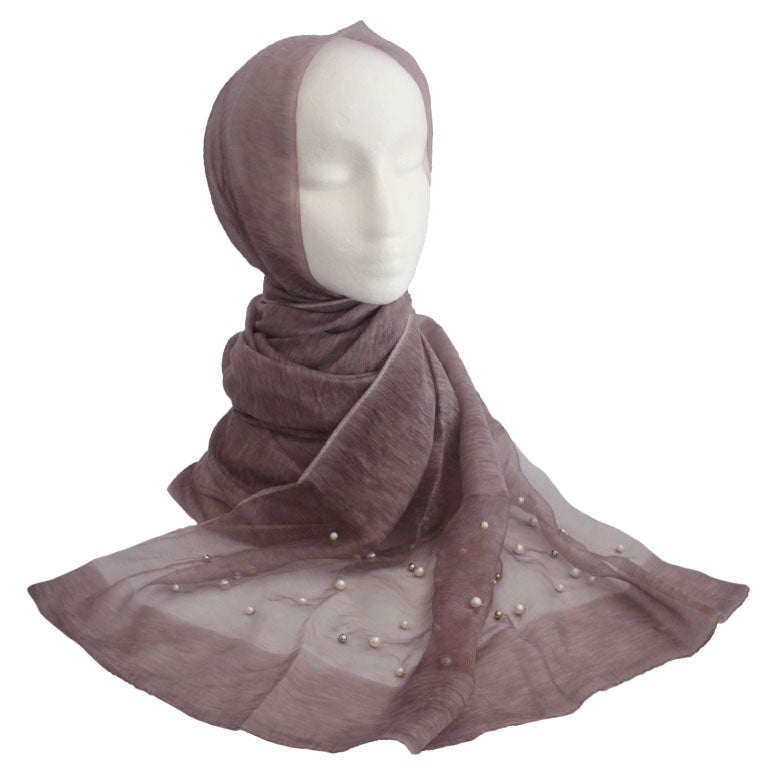 Silk & Pearl Panel Hijab Purple