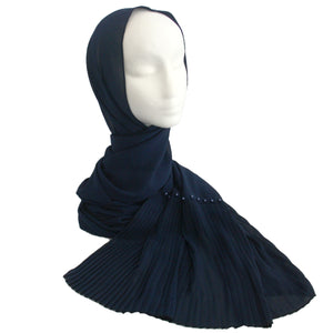 Pleat & Pearl Detail Hijab Navy