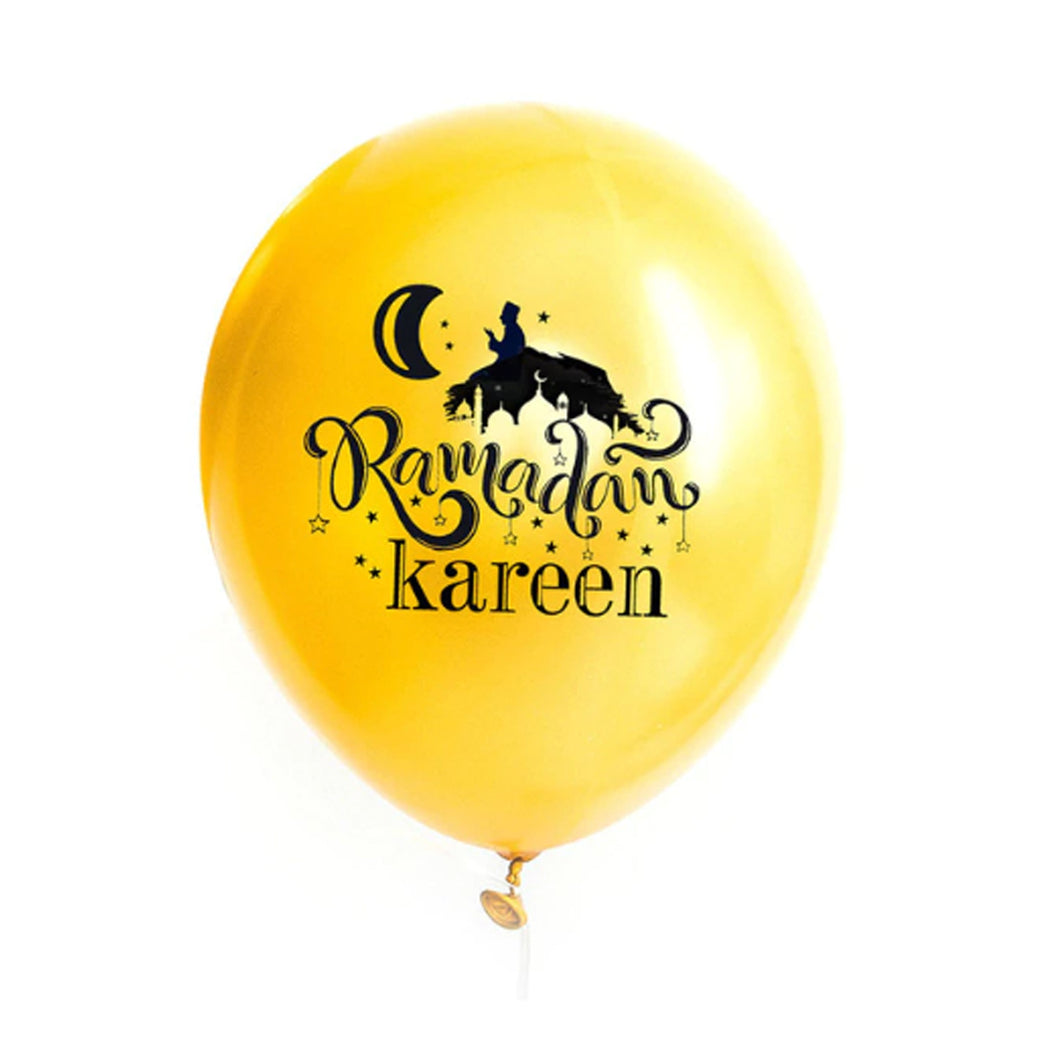 Ramadan Kareem Balloons Black & Yellow Gold