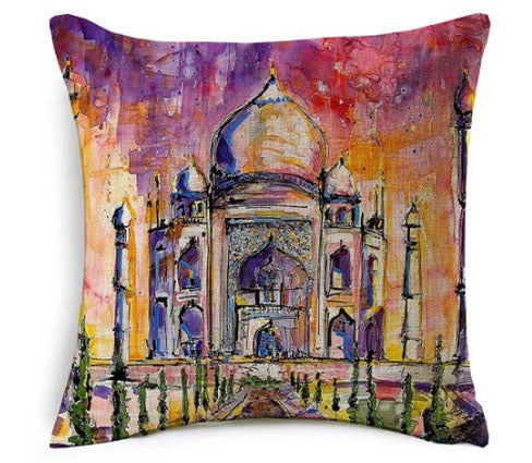 Islamic Decorative Cushion - Taj Mahal Painting