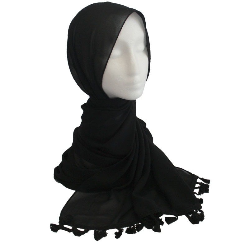 Tassel Edge Hijab Black